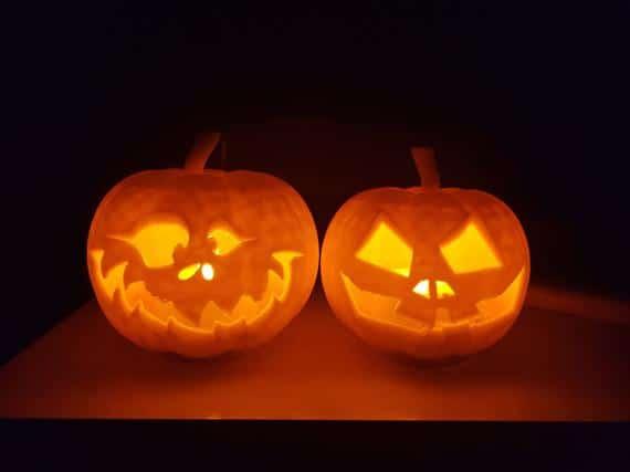 Carved Jack-o'lantern set | Etsy