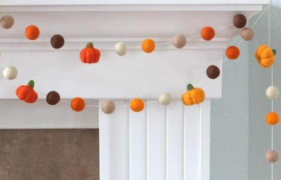 Felt Pumpkin Garland Orange Brown Felt Balls & Pumpkins | Etsy