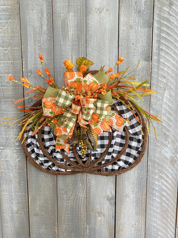 Fall Pumpkin Grapevine Wreath For Front Door Buffalo Check | Etsy
