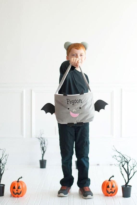 Embroidered Bat Halloween Bag Trick or Treat Basket   Etsy