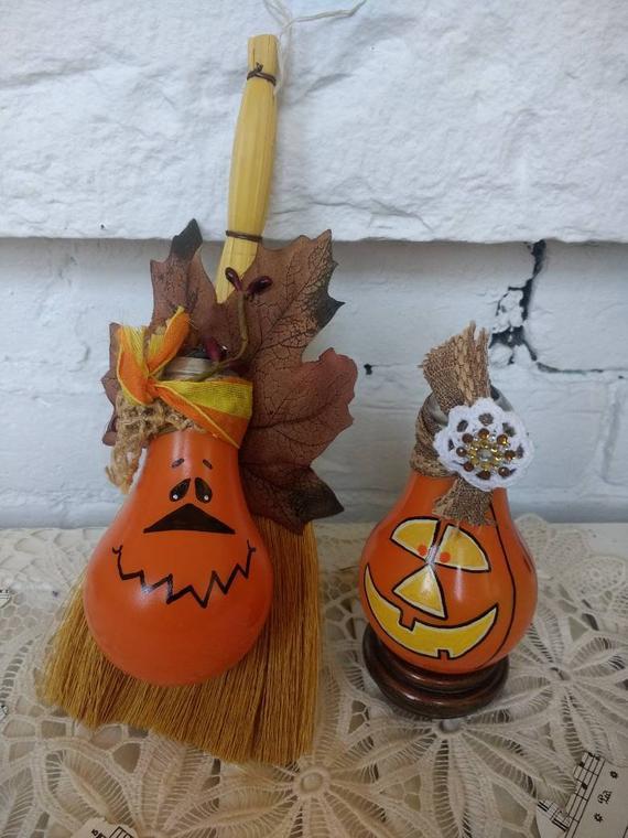 Handcrafted Pumpkin Lightbulb decor set of 2 | Etsy