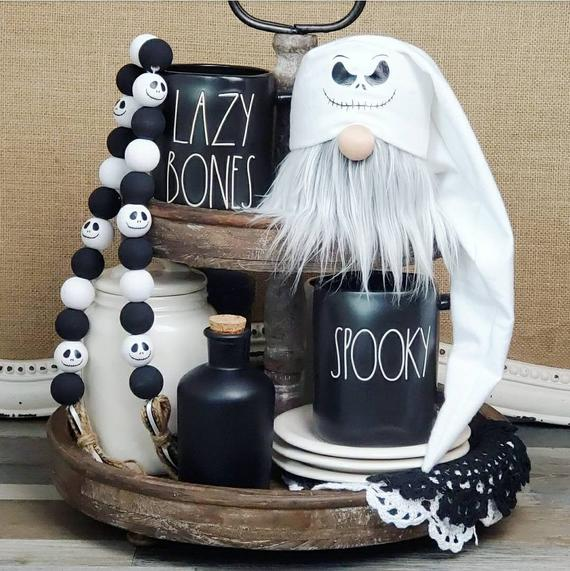 Jack skellington gnome jack skellington wood bead garland | Etsy