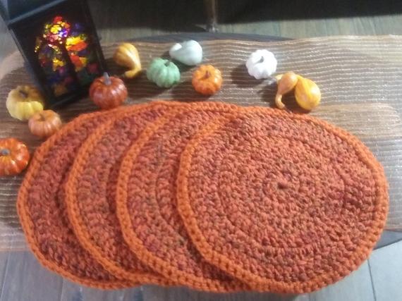 Pumpkin Spice Crochet Placemats Set of 4 | Etsy