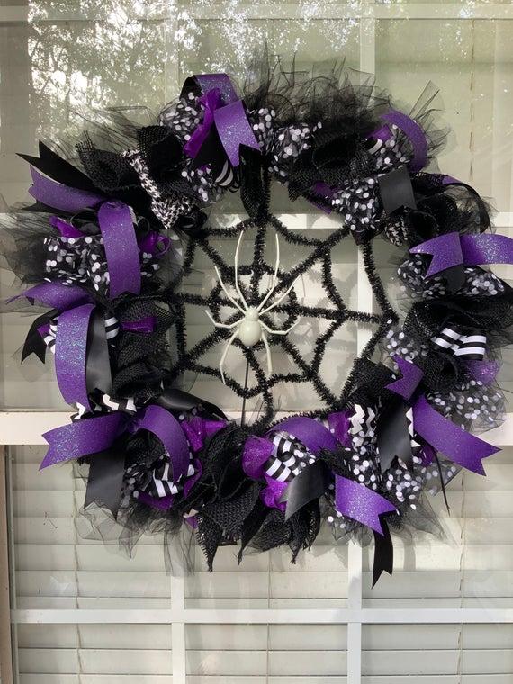 Halloween Spider Web Wreath | Etsy