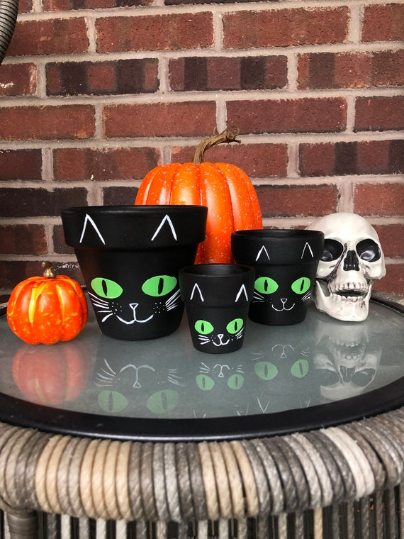 Black Cat Painted Planter Autumn Themed Flower Pot Fall | Etsy