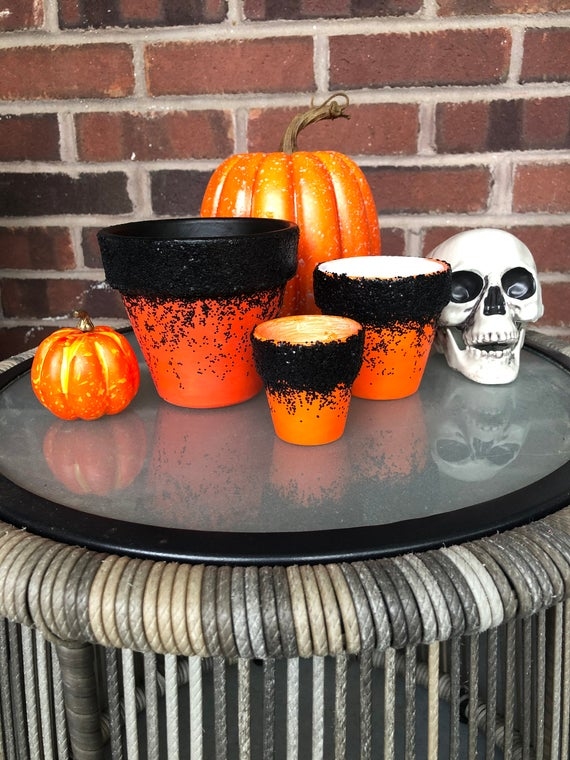 Orange and Black Glitter Planter Autumn Themed Flower Pot | Etsy
