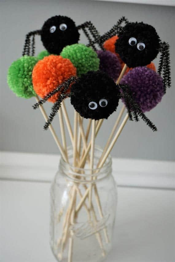 Halloween Spider Pom Pom Bouquet Centerpiece for Parties | Etsy