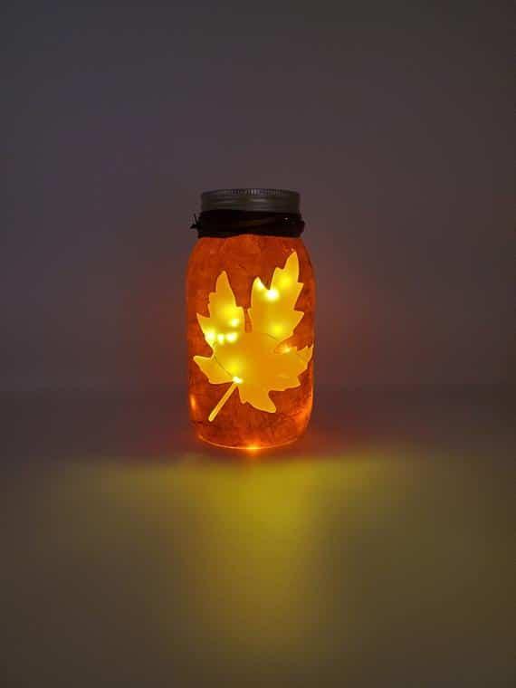Fall Leaf Lantern Light Fall Painted Mason Jar Light Orange | Etsy