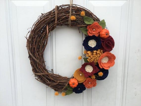 Fall Wreath Rustic Felt Flower Wreath Autumn Wreath | Etsy