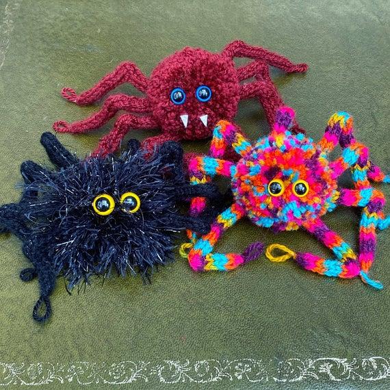 CUSTOM SPIDER build your own Cutey Crawley Pom Pom Knitted | Etsy