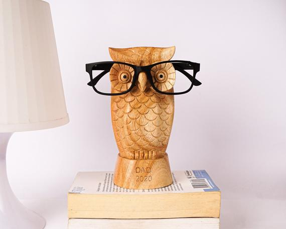 Owl Eyeglasses Stand Glasses Holder Wooden Bird Sculpture | Etsy