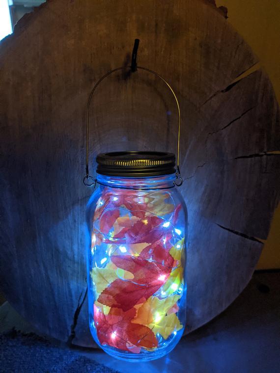 Mason Jar Solar Lantern Autumn Leaves | Etsy