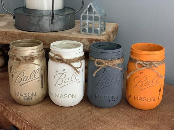 Fall Farmhouse Mason Jars Set of 3 or 4 Distressed Chalk | Etsy
