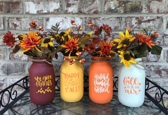 Single Rustic Painted Mason Jars with Fall Phrases Chalk | Etsy