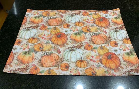 Pumpkin Harvest Reversible placemats set of 4 | Etsy