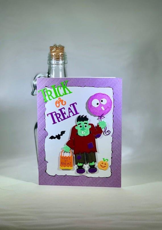 Halloween Card/Homemade Halloween Card/Trick Or | Etsy