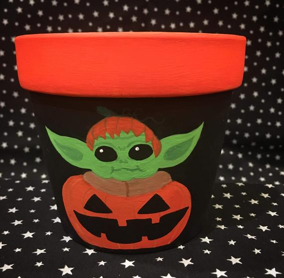 Baby Yoda Pumpkin Halloween Flower Pot | Etsy