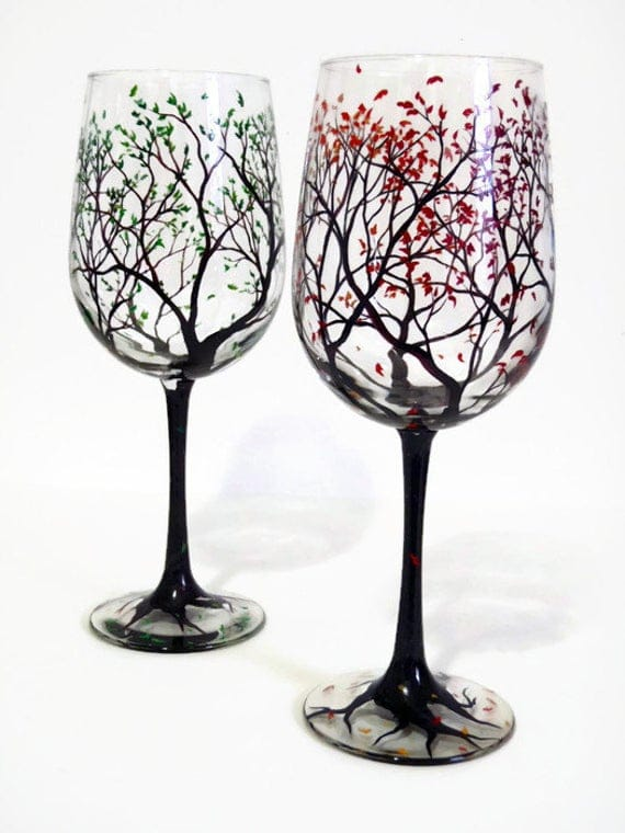Wine Glasses Hand Painted Tree Falling Leaves Autumn Fall | Etsy