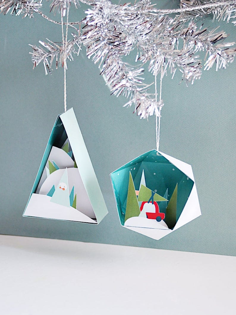 3D Christmas Ornaments #2 - 4 in a Set - Printable Paper Crafts