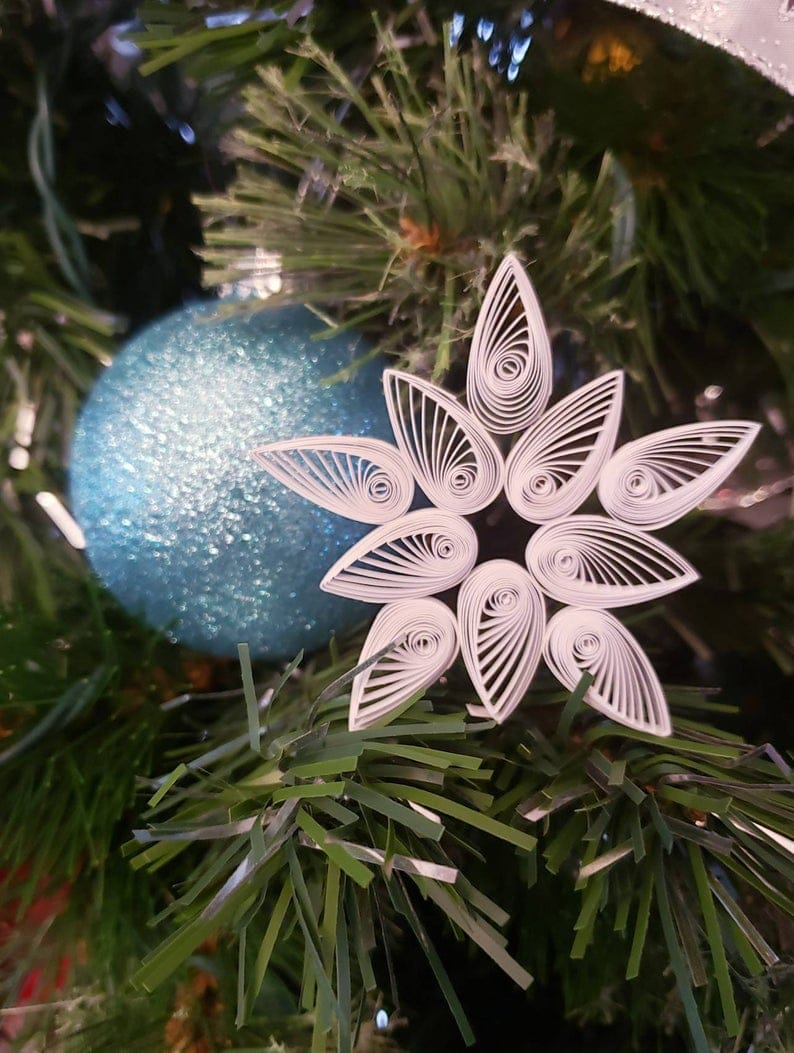Set of 2 Quilled Snowflakes Christmas Ornaments - 3 inch