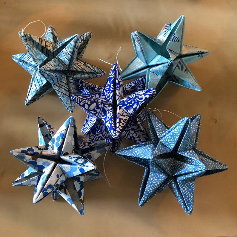 Star Ornaments, Blue Origami Stars made from Japanese Chiyogami paper
