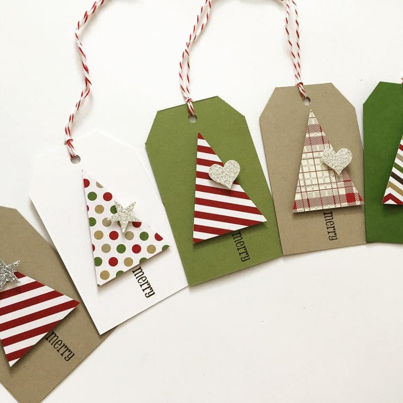 Christmas tree tags, 10 gift wrapping tags