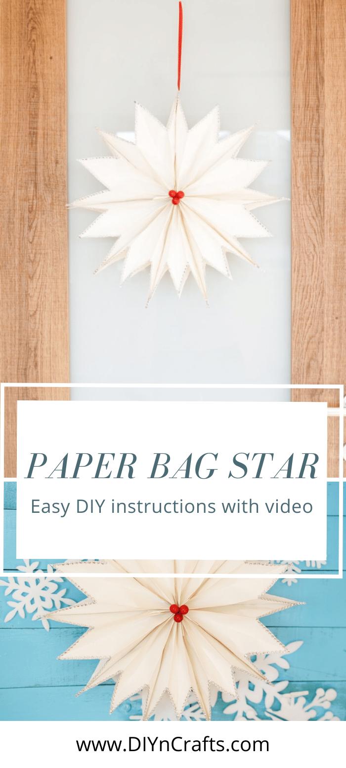 Paper bag star on a door