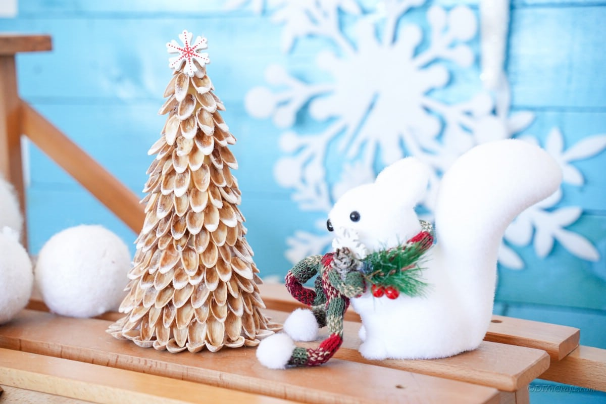 Mini Christmas tree with snowflake and decorations