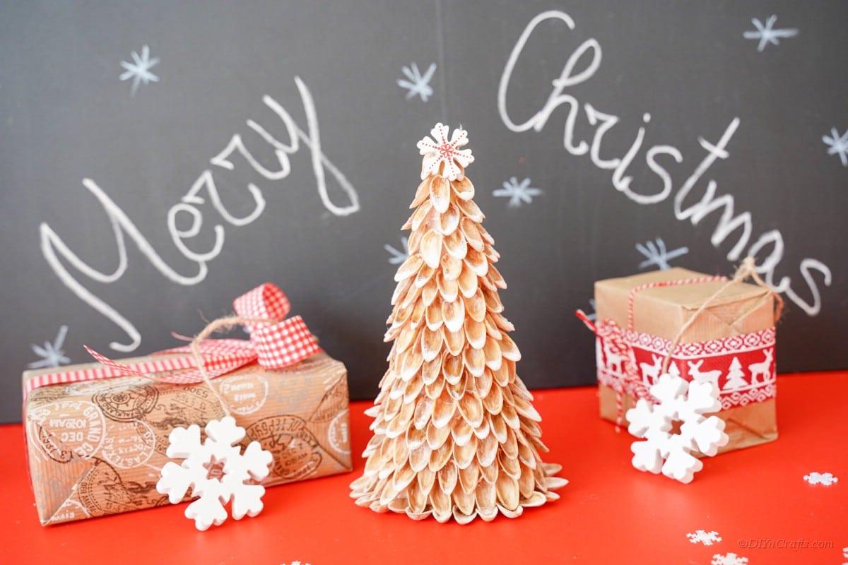 Merry Christmas chalkboard display pistachio shell Christmas tree decor