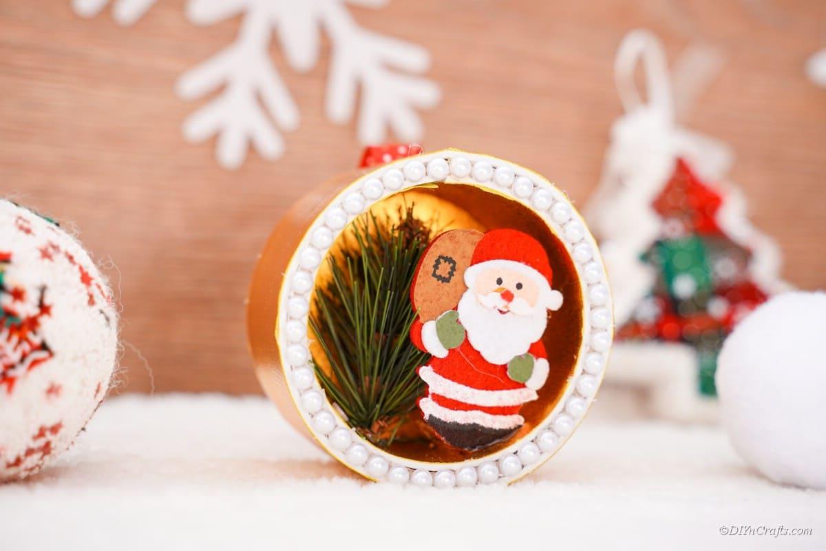 Santa ornament handmade craft on display