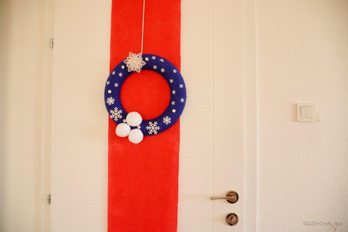Wreath hanging on door