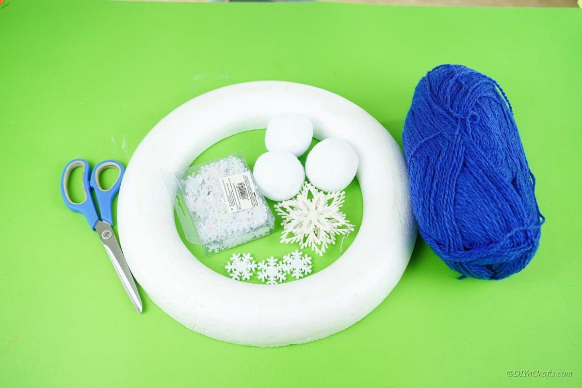 craft supplies foam ring cotton ball snowflake yarn