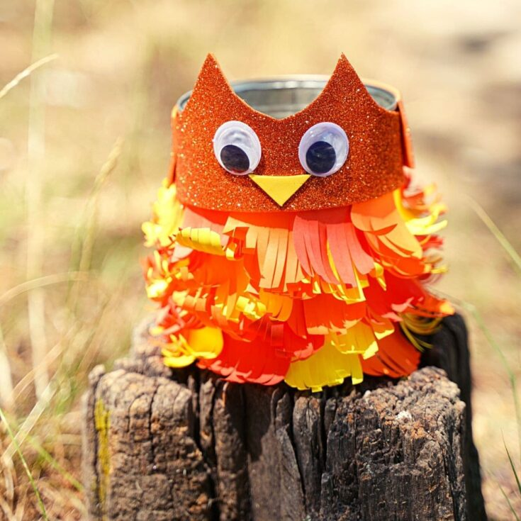 Upcycled Tin Can Owl Pencil Holder