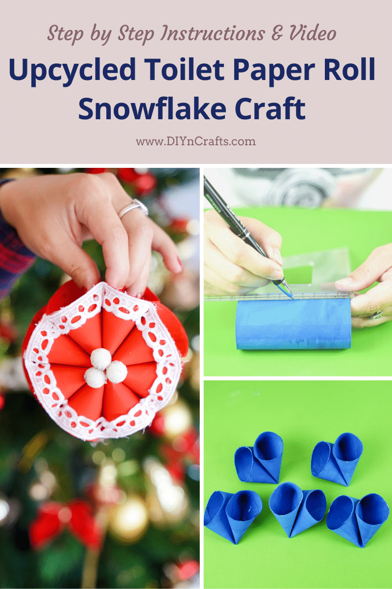 Step by step to make a snowflake craft from toilet paper rolls