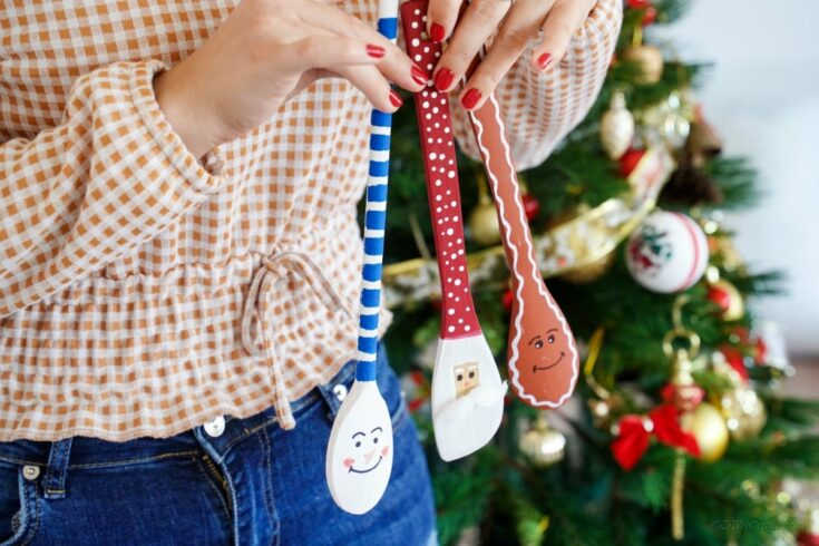3 Christmas themed wooden spoon craft characters