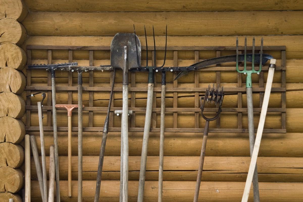 Garden tools wall organizer.