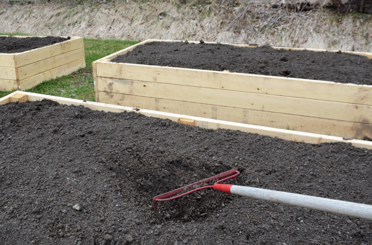 Raised garden bed with fresh top soil.