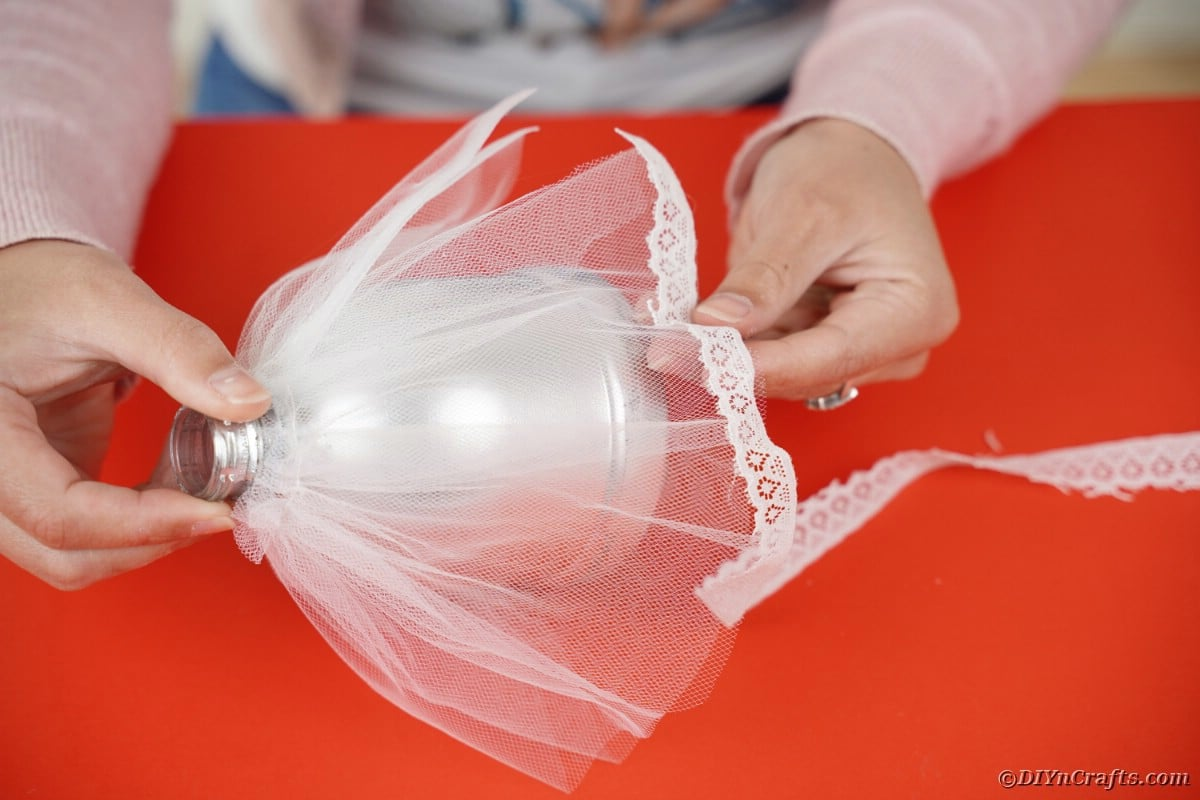 Adding lace to tulle