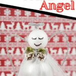 Angel against red reindeer background