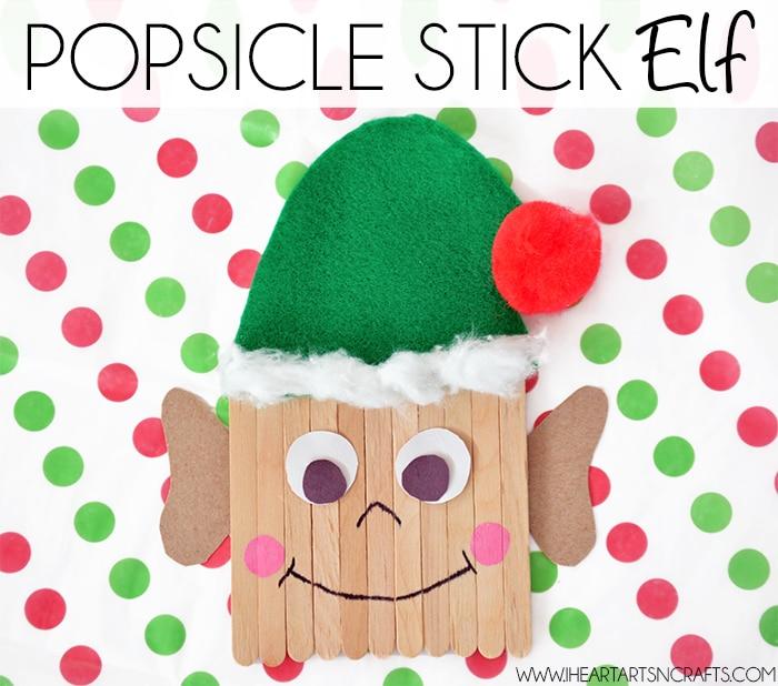 Craft stick elf on polka dot paper