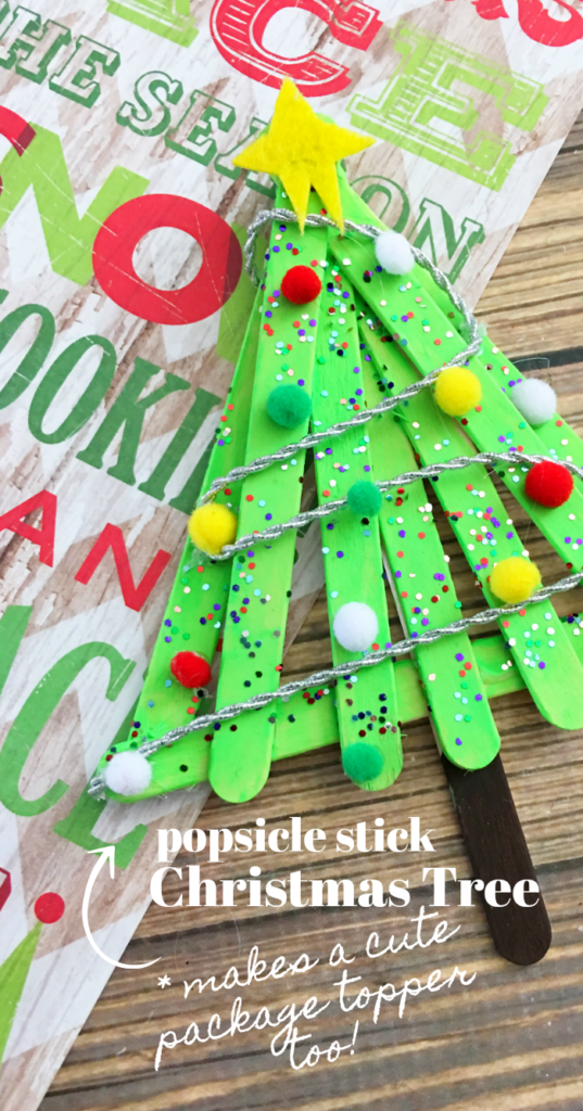 craft stick christmas tree on paper