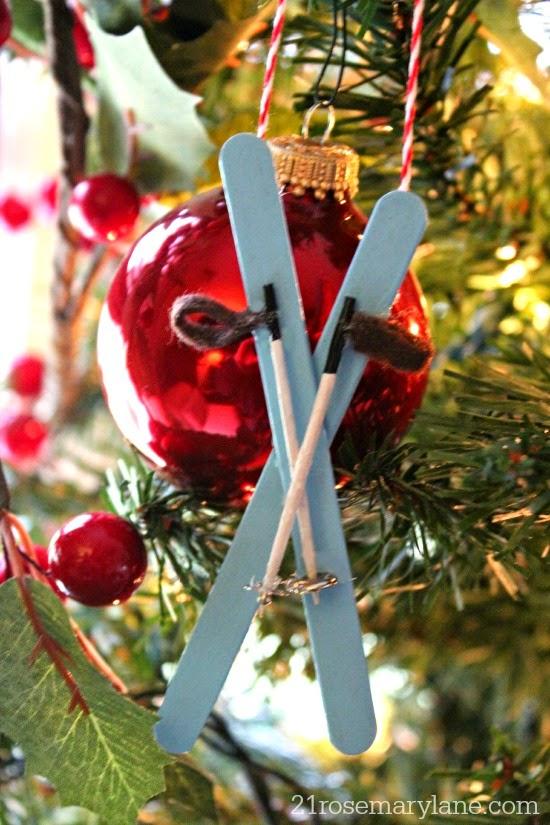 Snow ski ornaments on tree