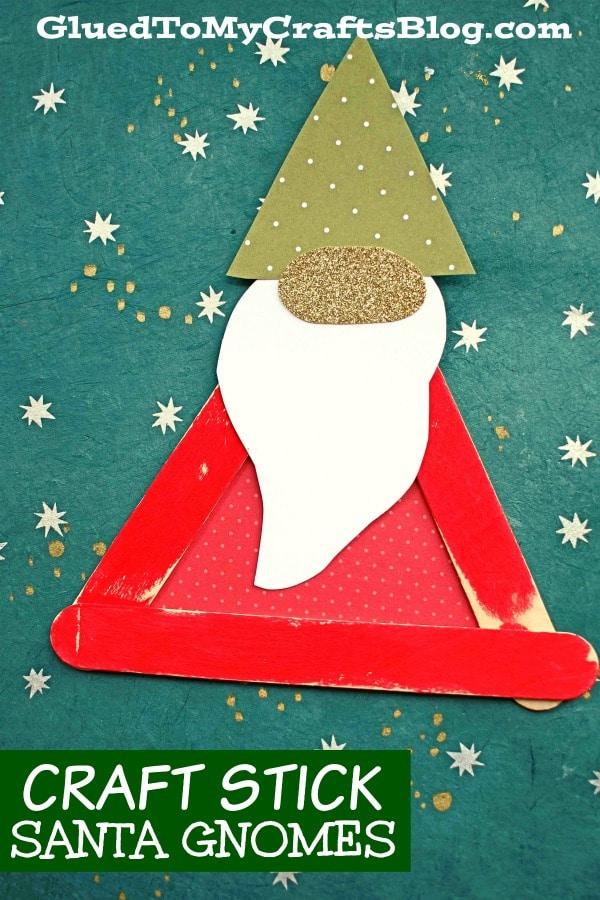 Santa gnome on green paper
