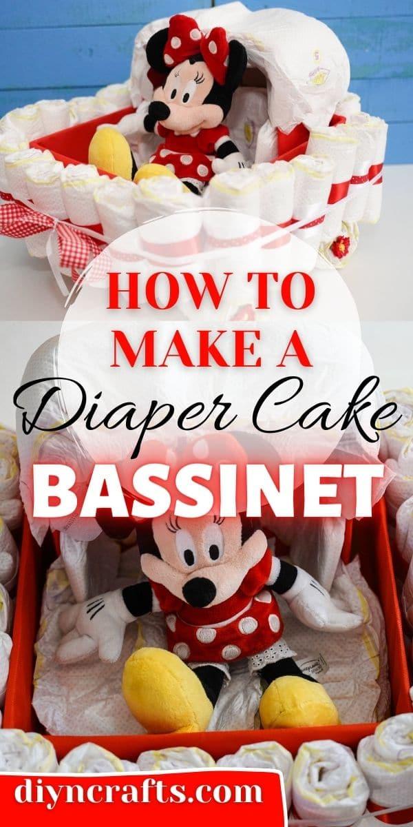 Bassinet diaper cake collage