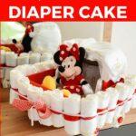 Diaper cake on dresser