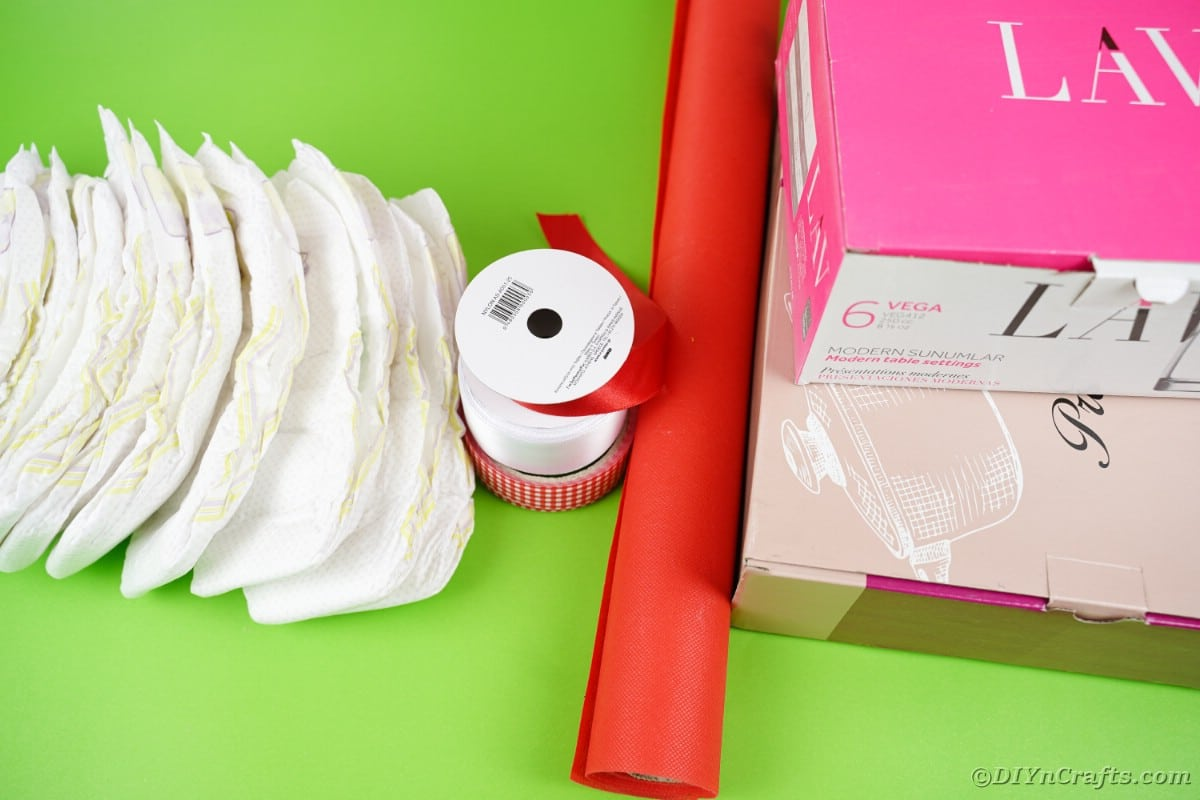 Supplies for diaper cake