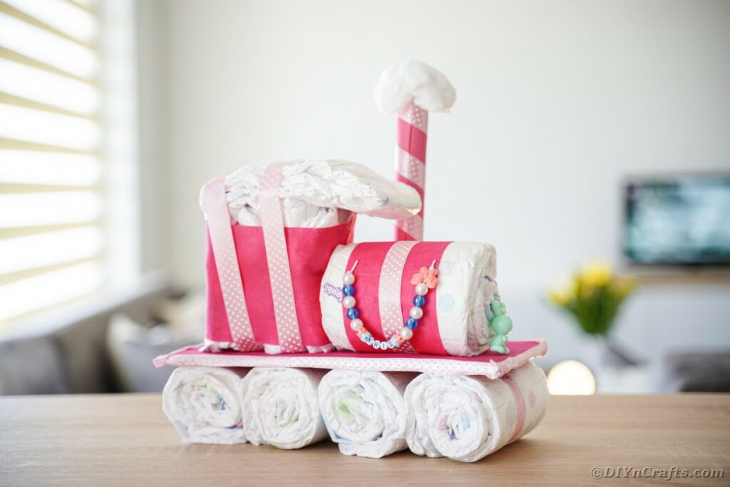 Diaper cake train on table