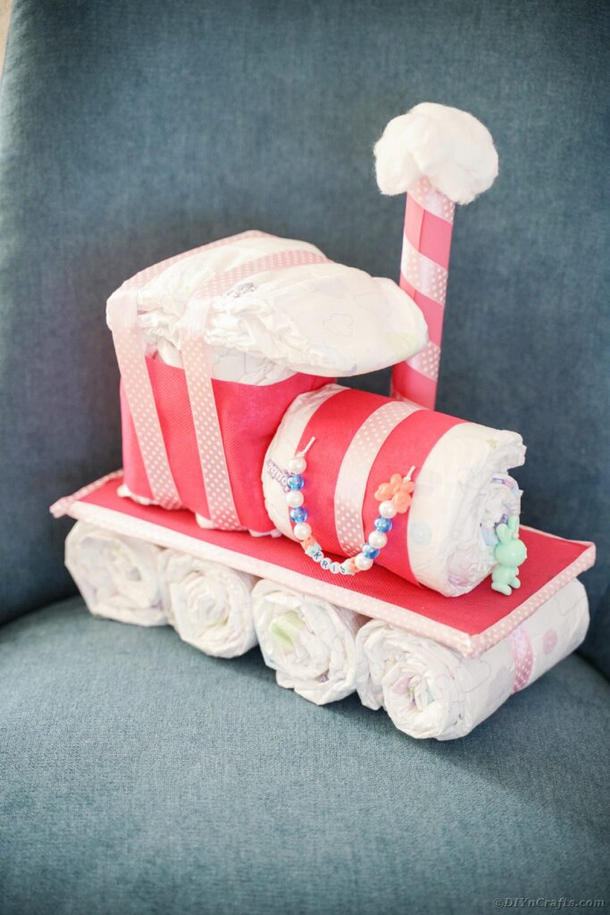 Diaper cake train on chair