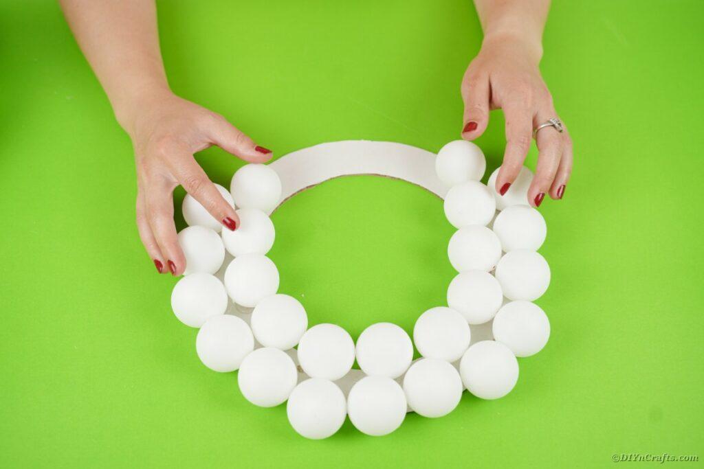 Ping pong balls on wreath