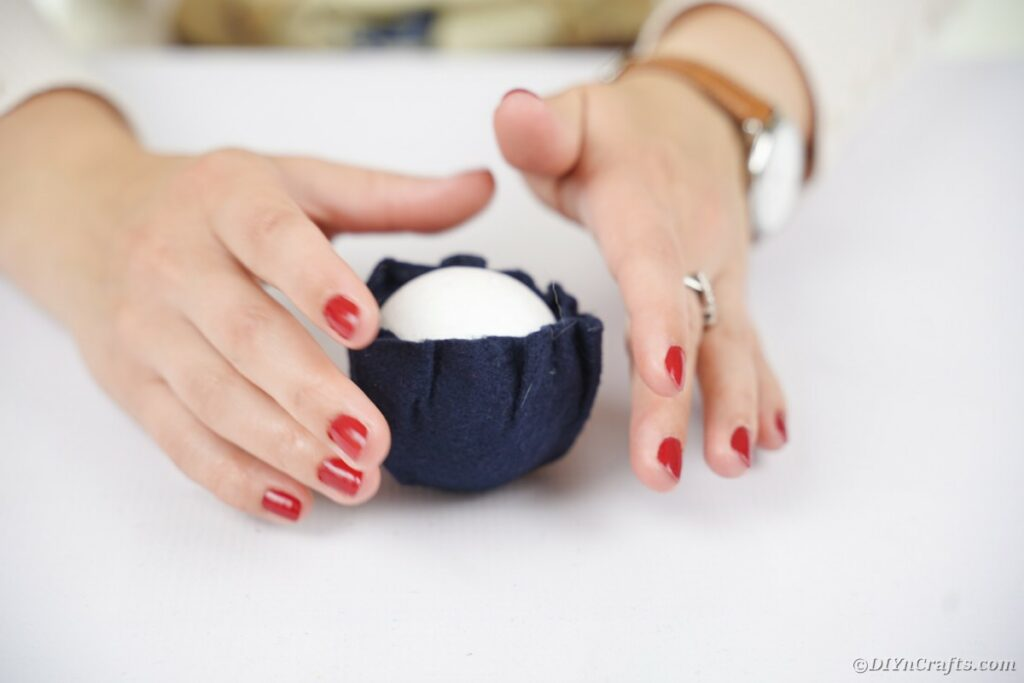 Felt covered white ball